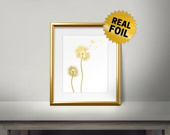 Dandelion, Real Gold Foil Print, Gold Wall Art, Dandelion art, Dandelion Wall Art, Spring Art, Gold Foil Dandelion, Nature Wall Art