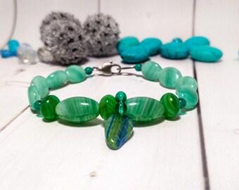 Clothing gift Light green Glass Romantic Layering bracelet woman Dainty green Oval bead jewelry Green bead Gift jewelry woman Simple Pendant