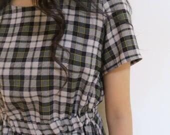 squares print vintage style dress