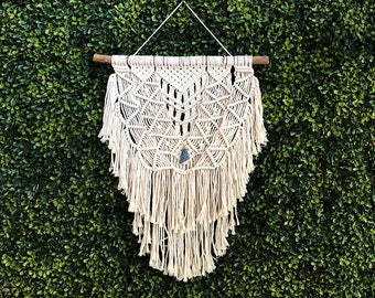 Large Macrame Wall Hanging on a Foraged Branch with Blue Sodalite Crystal, Woven Wall Hanging, Boho Hippie Tapestry, Bohemian Decor
