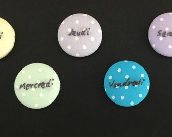 "Embroidery magnets ""Days of the week in French"""