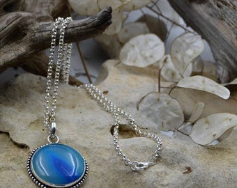 Ocean Blue Agate and Silver Necklace - Blu Haven Designs