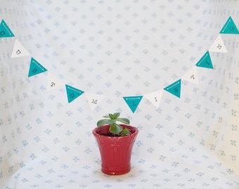 Custom Miniature Paper Bunting Flags/ Personalized Paper Garland/ Nursery Decor/ Bridal Shower/ Baby Shower/ Wedding Decor/ Camper