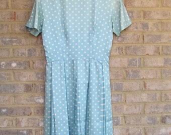 1950s Vintage Blue Polka Dot Dress| Polka Dot Dress| Women's Vintage Dress| Blue Dress with Matching Belt