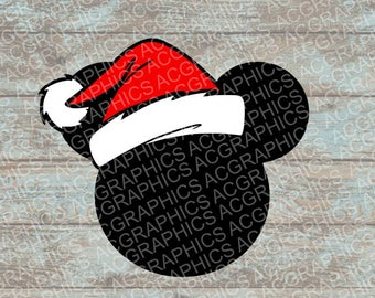 Santa Mickey Mouse Head SVG, DXF, JPEG, and Studio Downloads