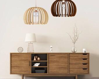 "Wood Lamp / Wooden Lamp Shade / Hanging Lamp / Pendant Light / Decorative Ceiling Lamp / Scandinavian Style Lamp / Modern Lamp / ""Sfera"""