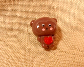 Tiny Brown Bear, Small Teddy Bear, Teddy Bear Jewelry, Pin Brooch, Kawaii Bear, Polymer clay bear, clay bear charm, cute teddy bear