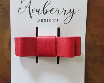 Faux Leather Red Double Bow Clip