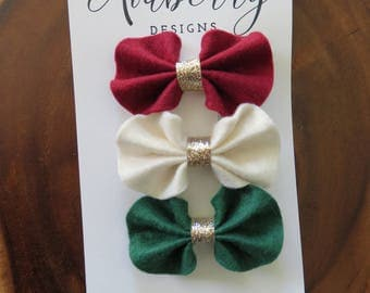 Christmas Ruffle Felt Bow Hair Clip Set