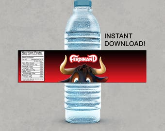 Ferdinand Inspired Water Bottle Labels Printable Birthday DIY Decorations Instant Download Pdf Party Drink