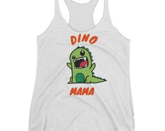 Dino Mama - Satin Jersey Ladies' Shirttail Tank - Funny Dino Mama Mother's Day Gift For Moms Mom Life and Mothers  Cute dinos Women's Racerb