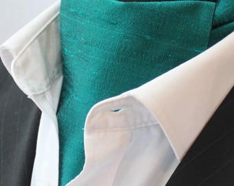Cravat Ascot.100% Silk Front. UK Made. Jade Green Dupion Silk + matching hanky.