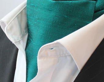 Cravat Ascot.100% Silk Front. UK Made. Jade Green Dupion Silk + matching hanky.