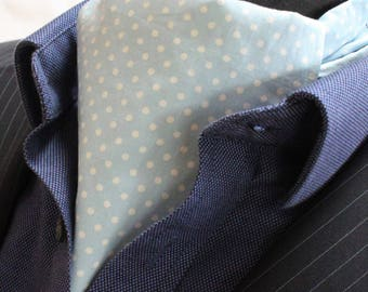Cravat Ascot UK Made Light Powder Blue / White Polka Dot+Hanky.Premium Cotton.