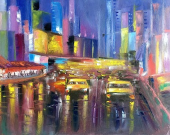 New York cityscape painting Manhattan skyline New York skyline art New York artwork New York city painting large canvas art Free shipping