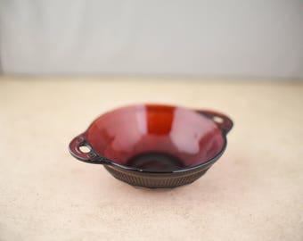 Royal Ruby Red Coronation Hocking Fruit Cup/Desert Bowl