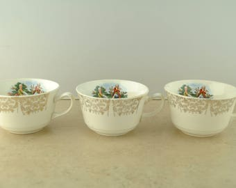 Colonial Gold Leaf Tea Cups - Set of 3
