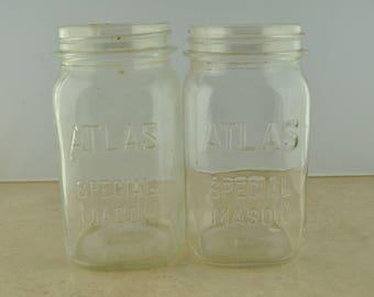 Atlas Special Mason Wide Mouth Quart Jar Pair