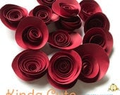 Set of 24 dark red paper flowers. Small paper flowers.
