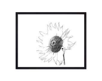 Sunflower Print - FlowerPrint - Instant Download - Printable Art - Flower Wall Art - Black & White