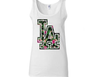 Los Angeles LA Flower Design  Women Tank Top Best Seller Designed Women Tanks