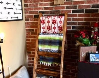 5 ft Rustic Blanket Ladder | Quilt Ladder | Custom Made Farm Ladder | Blanket Organizer | Quilt Organizer