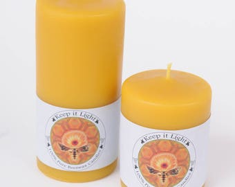 Slightly crowned Pure Beeswax Pillar candle with primed cotton wick. 2.5x3 and 2.5x5. Burn time 60 to 90 hours. Burns clean, long and sweet
