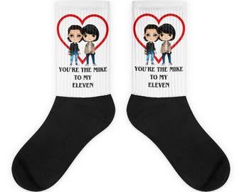 Stranger things Valentines day socks, Stranger things socks, Stranger things gift, Stranger things Valentines gift, Eleven socks, Mike socks