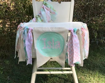 Pink and Mint Birthday Banner and Tutu