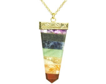 Chakra Gold Spear Necklace
