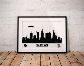 Warsaw Skyline by Underwaar Poster