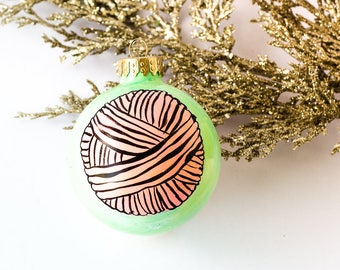 Handpainted Christmas Ornament - Yarn Gifts Knitting, Knitter gifts, Gifts for Knitters, Holiday Ornaments, Hand painted Ornament, bauble