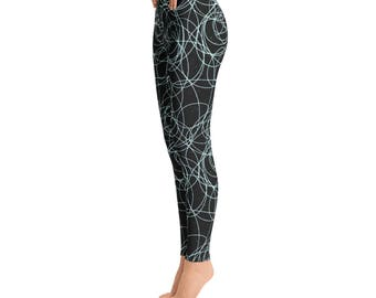 Swirl Leggings / Black Leggings / Light Blue Leggings / Workout Leggings / Yoga Pants / Printed Leggings / Womens Leggings / Running Legging