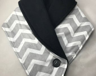 Fleece neckwarmer - Grey Chevron with Black Fleece