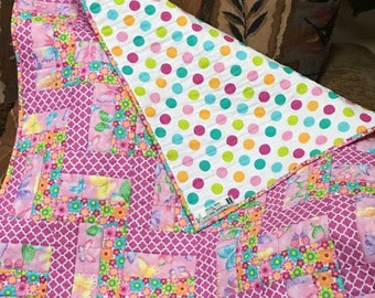 pink floral fence rail Baby Quilt