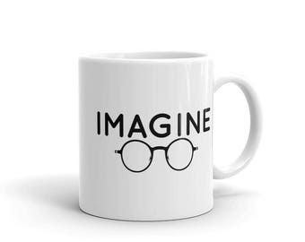 Imagine Mug round John Lennon glasses 80s 70s 60s hippie beatles peace mug music mug peace mug