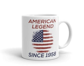 American Legend Since 1958 Patriotic American Birthday Mug, veterans birthday gift, gift for him gift for her, distressed design, hand drawn
