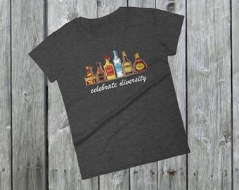 Celebrate diversity liquor schnaps schnapps T-Shirt funny shots drink Women's short sleeve bourbon vodka whiskey tequila scotch cognag