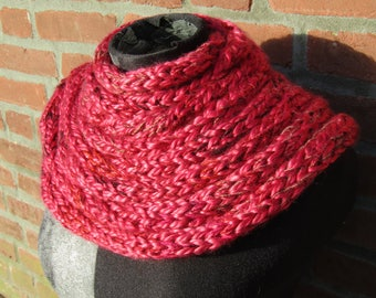 Knitted scarf: Ruby - A subtly shimmering, chunky and luxurious red infinity scarf.