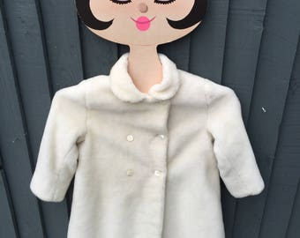 Original 1950s little girls swing coat, faux fur double breasted made in England 3 years