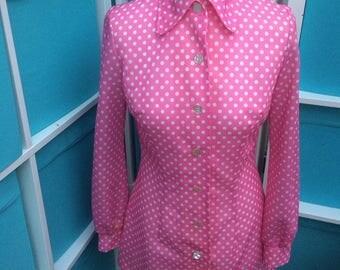 Lanz polka dot shirt - 60's/70's vintage - Size 10/12