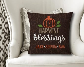 Harvest Blessings PILLOW, Family Kids Name Pillow, Personalized Fall Gift, Grandparent Gift, Fall Decor, Pillow Cover or With Insert