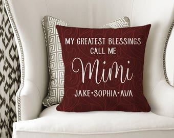 GRANDMA PILLOW, MIMI Grandkids Name Gift, Personalized Grandmother Gift, Grandchildren Names, Mother's Day Gift -Pillow Cover or W Insert