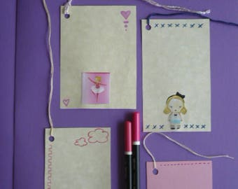 """Gift Tags Set 5 Gift Greeting Cards """"Little Girl"""""""