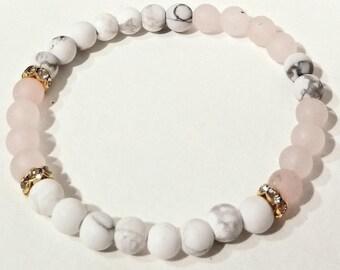 Howlite | Rose quartz | Elastic beaded bracelet