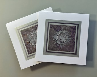 Silver sun on silvered purple blank cards (set of 2), individually handmade: solstice, sun, solar, SKU BLSQ1001