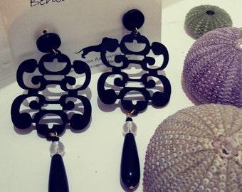 Black plexiglass earrings with stone pendants