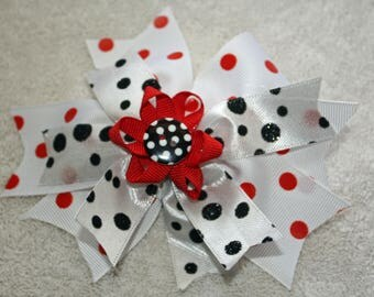 Stacked spiked hair bow, Red White and Black, Girl Toddler Infant Hair Bow
