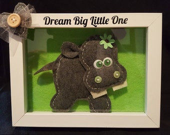 Baby Hippo,Shadow Box, picture, Nursery Decor, handmade, wall hanging,cute animal,heart, love, felting, dream big little one, hippo picture