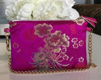 Hot pink satin brocade clutch